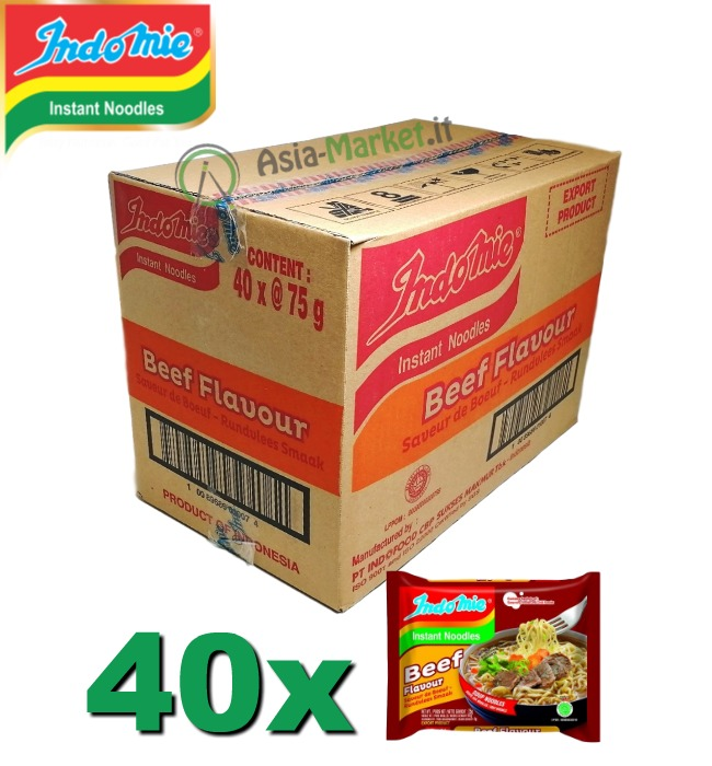 Indomie instant noodles gusto Beef (Manzo) - Scatola da 40 buste