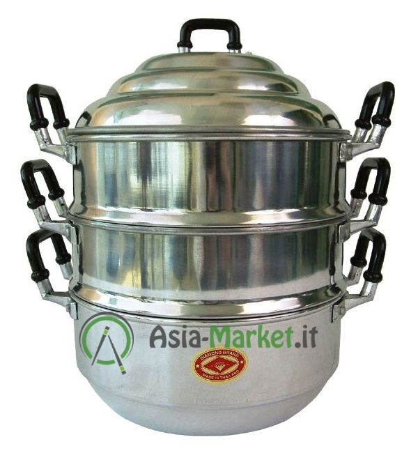 pentola in alluminio per cottura al vapore tre piani Ø 24 cm ... - Cucina Vapore