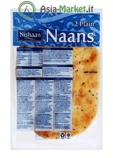 Focacce Naan bianche - Nishaan 270 g. (2 pezzi)