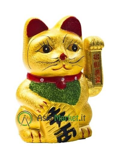 Gatto portafortuna cinese dorato con zampa mobile , H 17.5 cm