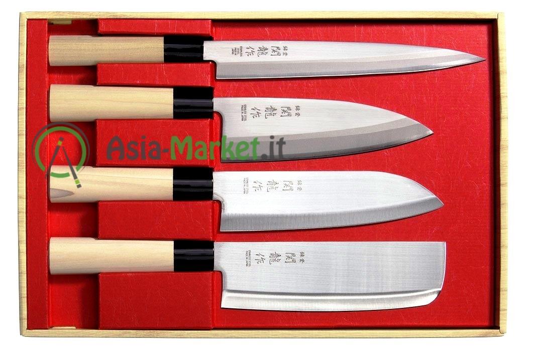 Set 4 coltelli giapponesi sekiryu sashimi deba santoku nakiri asia l - Coltelli giapponesi da cucina ...