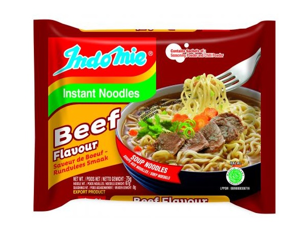Indomie instant noodles gusto Beef (Manzo) - 3 buste da 70g.