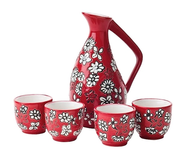 Set da sake in ceramica rossa decorata per 4 persone